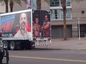 Of course you can see they take special care to make sure these trucks have all the biggest names on them, like Sheamus, The Great Khali, and Alex Riley