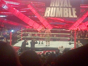 A staredown with the last 2 men in the Royal Rumble, Ryback VS John Cena