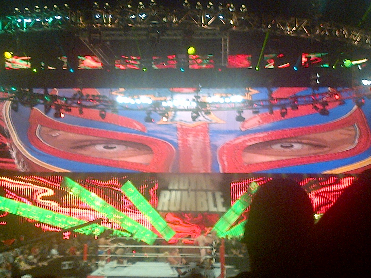 Rey Mysterio is watching over you. This was the coolest picture they got at the Rumble itself