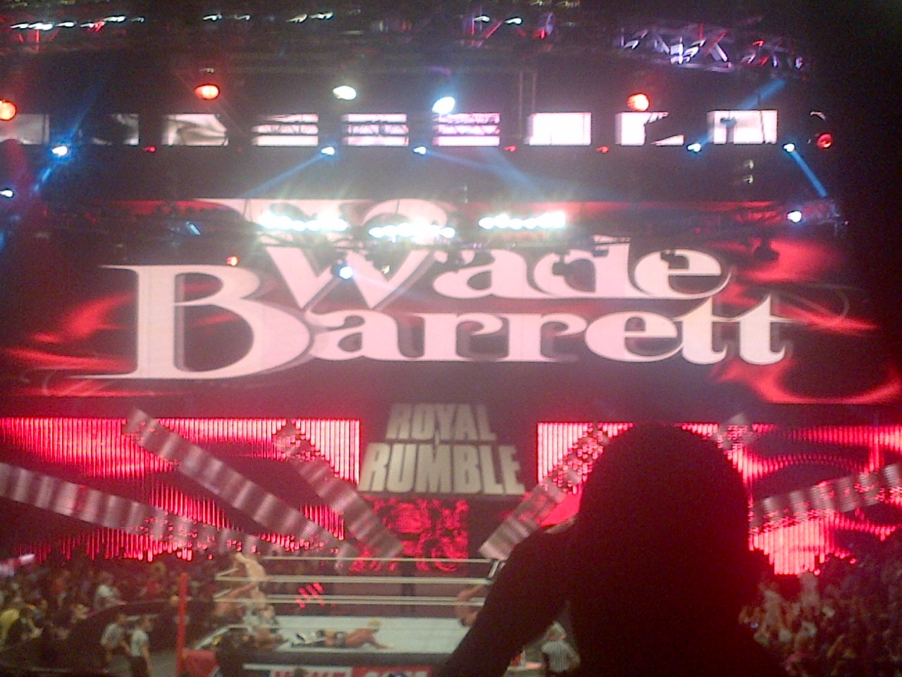 "Mo's twin Wade Barrett makes his way to the ring during the Rumble. The best part of this was when Addie turned to Mo and pointed at him saying ""Hold on, if your here, how can you be there too?"""