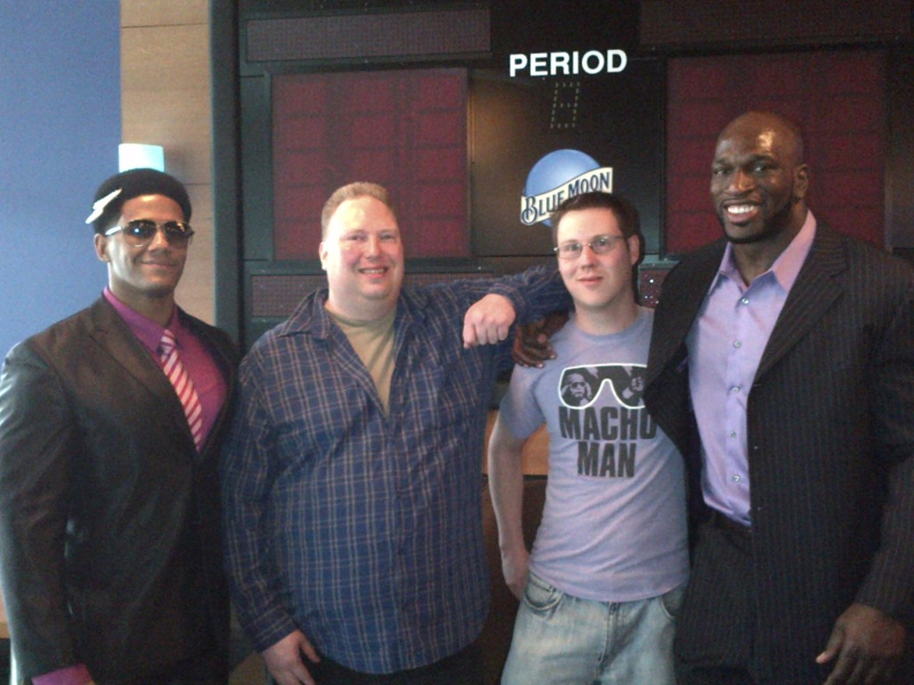 The guys with The Prime Time Players. Mo told Titus O'Neil he and Addie were worth Tens of Dollars. Darren Young seemed far too hungover to notice