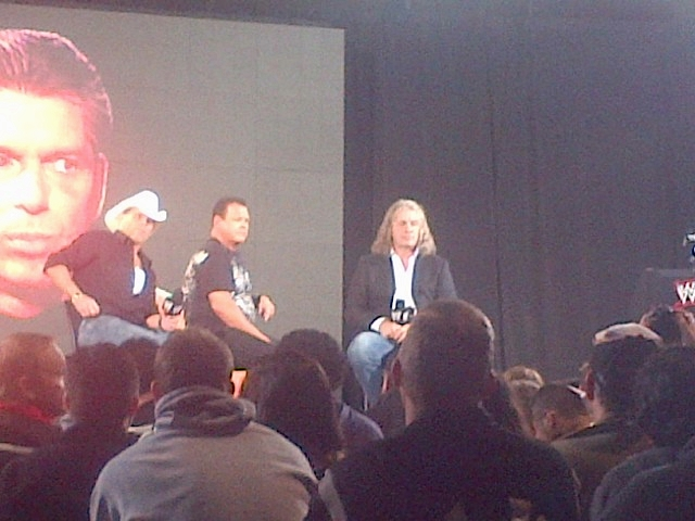Surreal moment at the Screwjob Panel as HBK, The King and Bret Hart watch Vince say Bret screwed Bret for the 1st time since it originally aired on RAW
