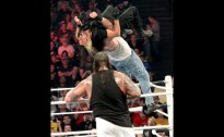 Seth Rollins backflips through the Luke Harper suplex