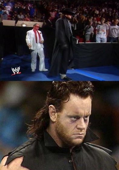Day 1, the debut of Cain The Undertaker at Survivor Series 1990 (Yes, you read that right, he was CAIN THE UNDERTAKER for a couple of weeks). Note his original manager, Brother Love.