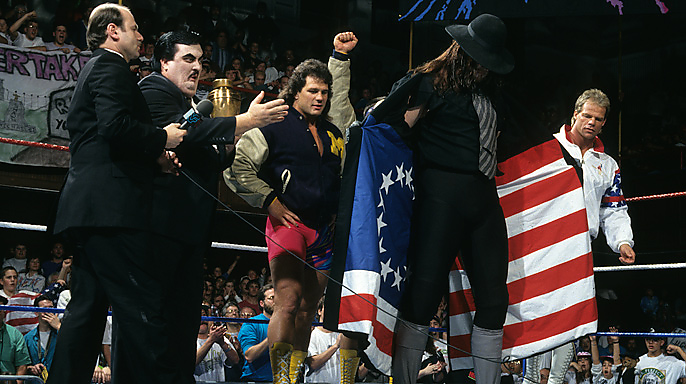 For the 1993 Survivor Series Undertaker would show his patriotic side, joining Lex Luger and The Steiner Brothers as The All-Americans in a team against the evil heel Foreign Fanatics of Yokozuna, Crush, Ludvig Borga, and Quebecer Jacques.