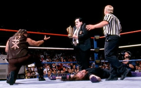 The match ends with The Undertaker's long time manager, Paul Bearer, turning his back on the deadman and joining Mankind in a shocking move.